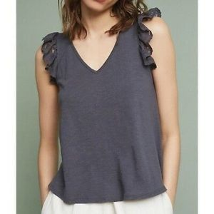 Anthropologie Eri and Ali Gray Flutter Lace Tank